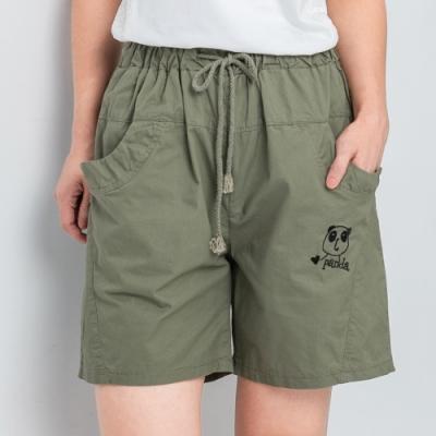 【白鵝buyer】 熊貓刺繡PNADA休閒短褲-綠