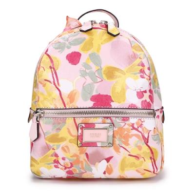 GUESS-女包-花卉圖案印刷小型後背包-粉紅