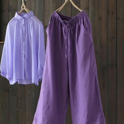 優雅紫鬆緊腰繫帶亞麻休閒寬鬆寬管褲-設計所在