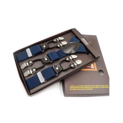 Laifuu拉福,英倫吊帶六夾紳士吊帶附紙盒(深藍)