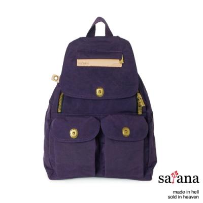 satana - Soldier 小拉鍊後背包 - 紫色