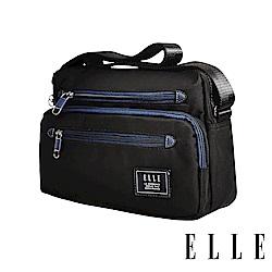 ELLE 城市都會休旅系列-多隔層收納休閒橫式斜背/側背包-黑色 EL83493