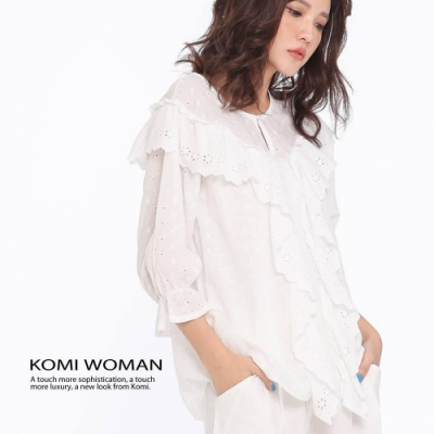 【KOMI】夢幻純白棉布蕾絲刺繡上衣