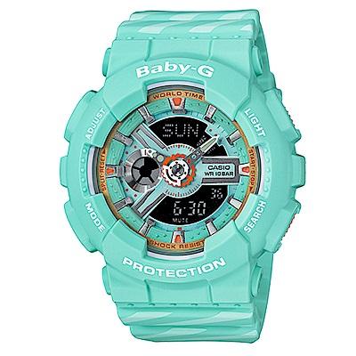 BABY-G潮流時尚交錯線條配色設計運動錶(BA-110CH-3)翡翠綠x黑面43.4mm