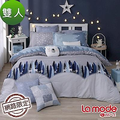La Mode寢飾 雪落初音100%精梳棉兩用被床包組(雙人)