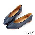 HERLS 全真皮線條抓摺尖頭平底鞋-藍色
