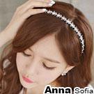 AnnaSofia 名媛氣質綺花 彈性新娘髮飾細髮帶(珠白系)