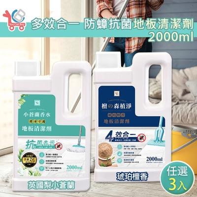(時時樂限定) YCB 多效合一 防蟑抗菌地板清潔劑 2000mlx3入 (2代小蒼蘭/琥珀檀香 2款任選)