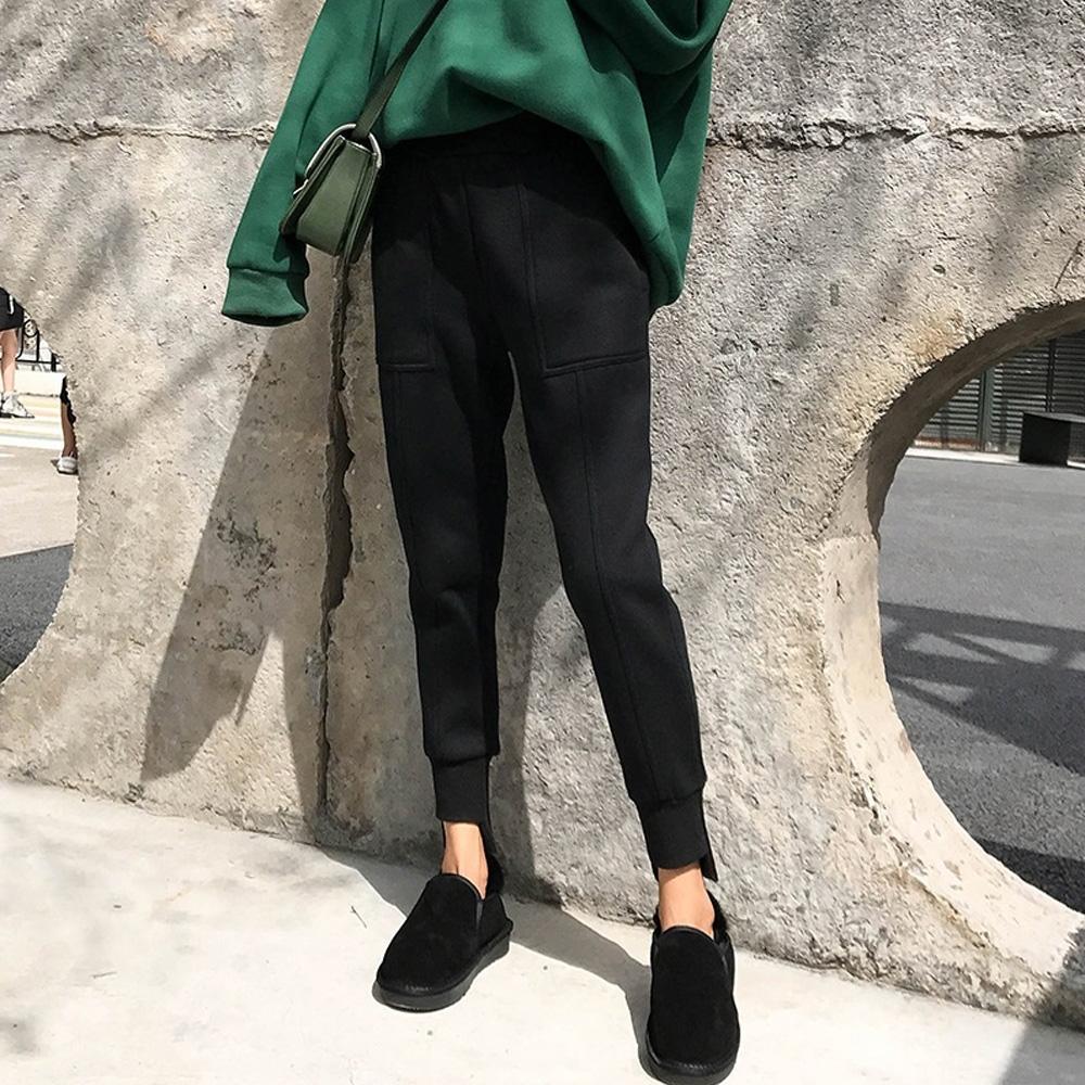 名模天后-韓版素面內刷毛縮口長褲-黑色(M-2XL)