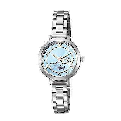 HELLO KITTY 凱蒂貓 微甜夢幻氣質手錶 銀x藍/35mm