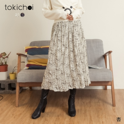 東京著衣 悠閒時光印花鬆緊腰皺皺長裙(共二色)