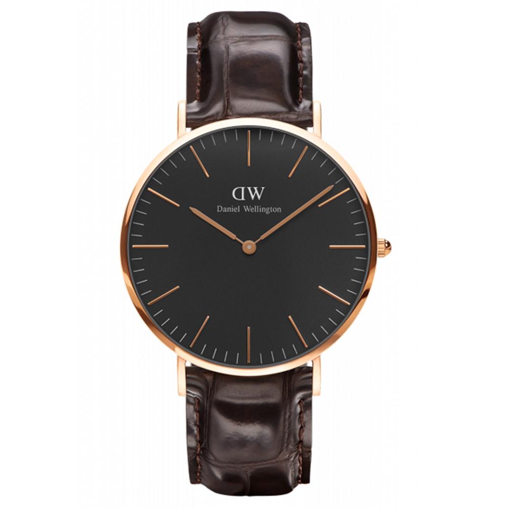 DW Daniel Wellington 經典約克咖啡壓紋皮革腕錶-金框/40mm