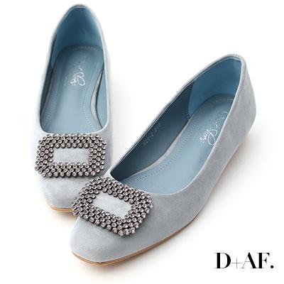 D+AF 華麗印象.水鑽方形飾釦低跟包鞋*藍