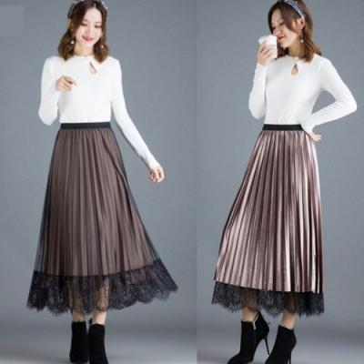 La Belleza兩面穿金絲絨光澤感黑色蕾絲網紗拼接百摺裙大擺裙