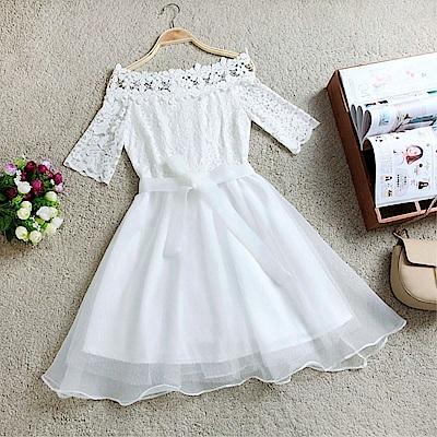 DABI 韓國風蕾絲勾花一字領蝴蝶結公主短袖洋裝