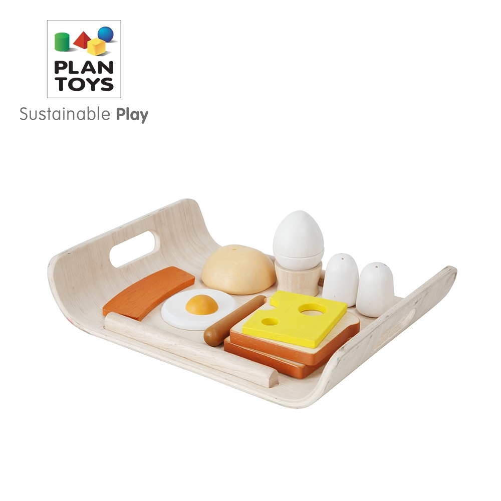 PLANTOYS 天然橡膠木益智玩具 角色扮演系列-小主廚 陽光早餐托盤