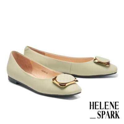 平底鞋 HELENE SPARK 都會典雅金屬方釦全真皮方頭平底鞋-綠