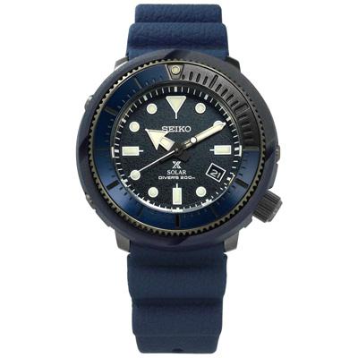 SEIKO PROSPEX 太陽能潛水錶日期防水200米矽膠手錶-藍色/45mm