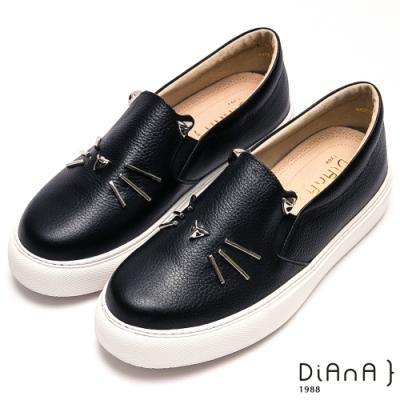 DIANA 可愛趣味鉚釘貓咪真皮懶人鞋-童趣主義-黑