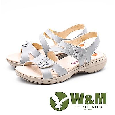 W&M 馬卡龍素色小花健走健塑涼鞋 女鞋-灰(另有粉)