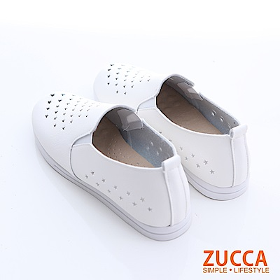 ZUCCA-縷空洞洞皮革平底鞋-白-z6627we