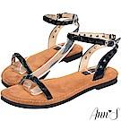 Ann'S水洗牛皮-歐美簡約鉚釘寬版平底涼鞋-黑