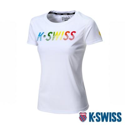 K-SWISS Neon KS Logo Tee排汗T恤-女-白
