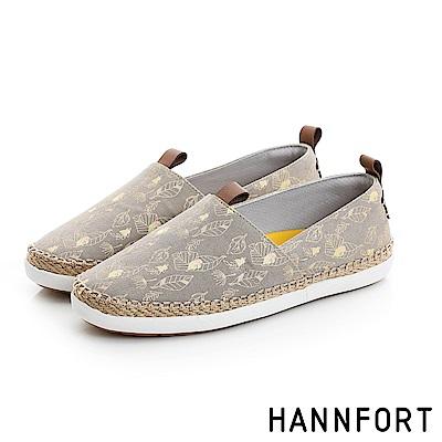 HANNFORT CALIFORNIA帆布草編懶人鞋-女-鼯鼠棕