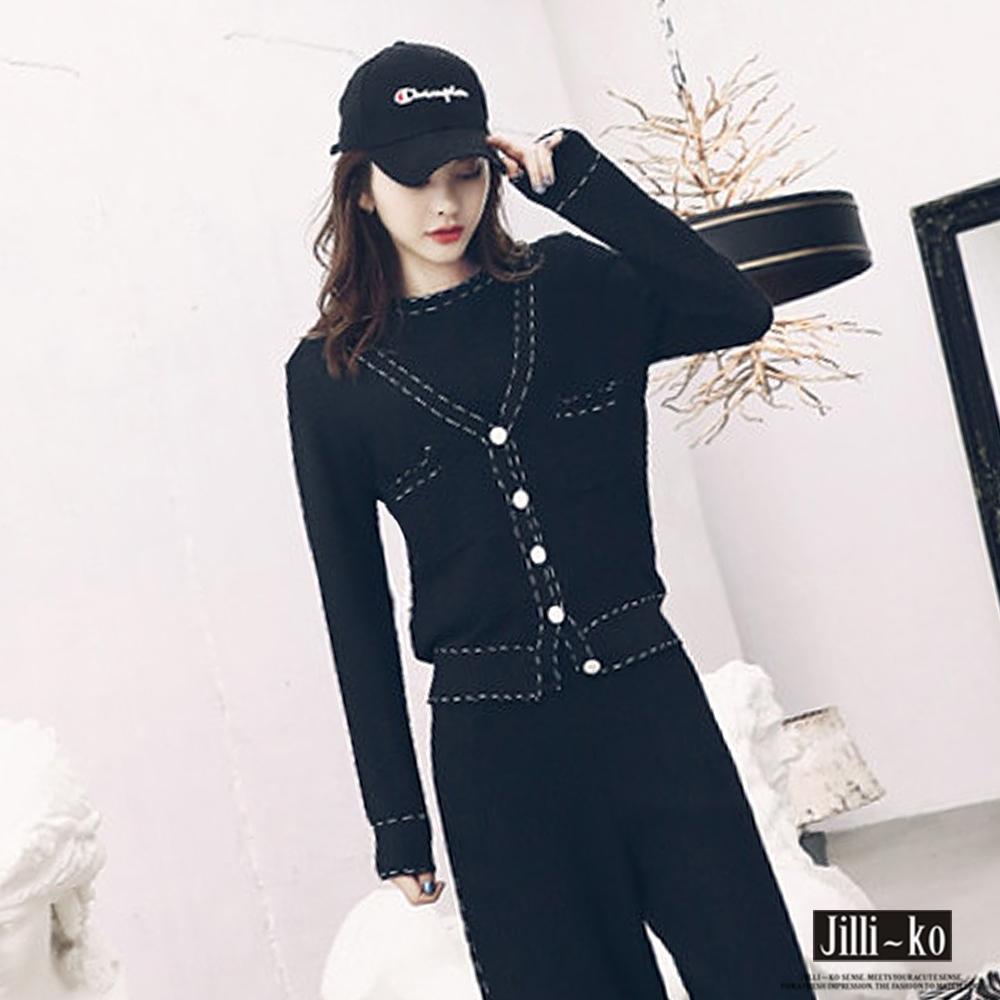 JILLI-KO 上衣罩衫褲裝針織三件式套裝- 黑/白