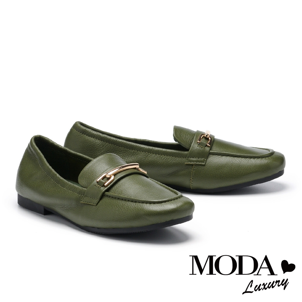 低跟鞋 MODA Luxury 經典時尚質感背釦樂福低跟鞋-綠