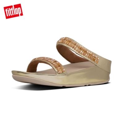 FitFlop RUMBA SLIDES 閃耀水晶珠串涼鞋 金鉑色