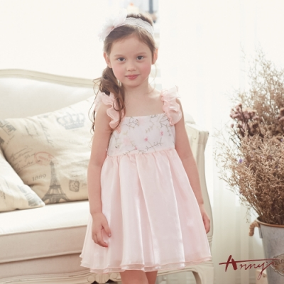 Annys安妮公主-夢幻花卉蕾絲紗裙拼接春夏款吊帶洋裝*8152粉紅