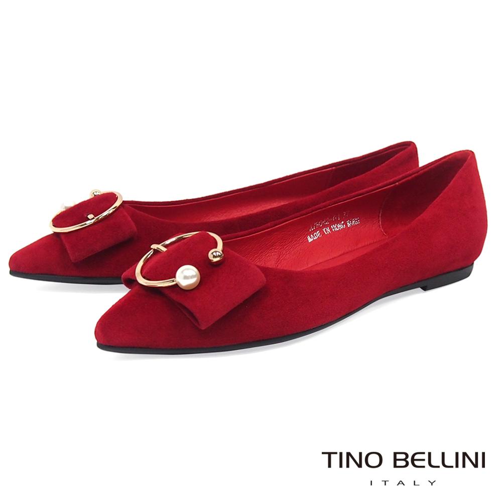 Tino Bellini麂皮珍珠金屬飾扣全真皮平底娃娃鞋_紅