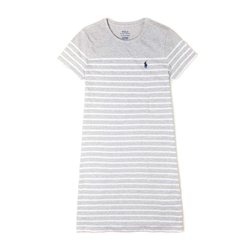 Polo Ralph Lauren 經典電繡小馬條紋長板T恤(女)-白淺灰色