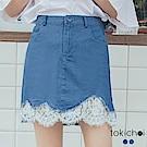 東京著衣 舒適優雅蕾絲拼接單寧短裙-S.M.L(共二色)