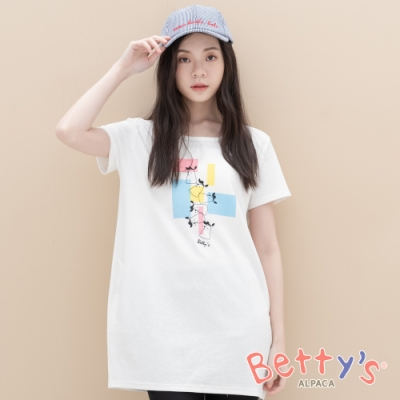 betty's貝蒂思 動物印花色塊長版T-shirt(白色)