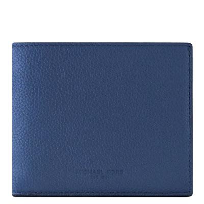 MICHAEL KORS Russel 牛皮十卡雙摺短夾(藍色)