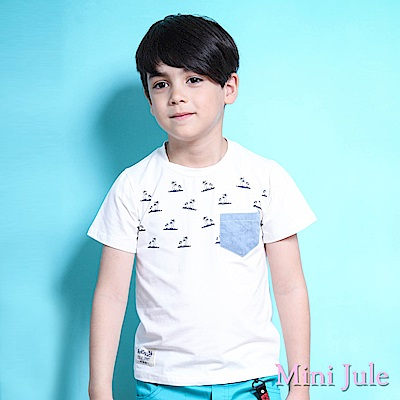 Mini Jule 上衣  沙灘椰子樹印花單口袋短袖T恤(白 )