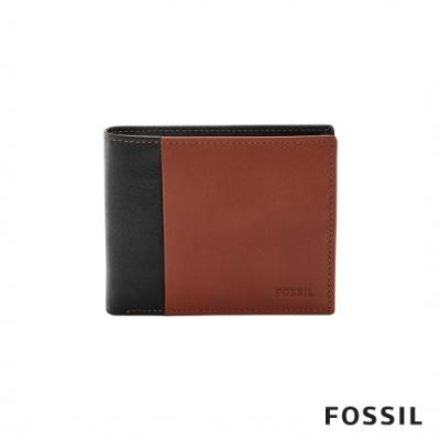 FOSSIL WARD 真皮證件格零錢袋RFID男夾-黑色X咖啡色