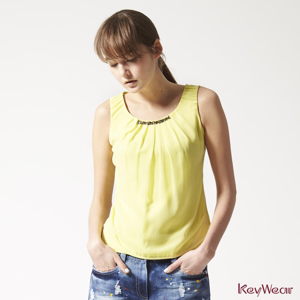 KeyWear奇威名品     100%純棉時尚無袖背心-淺黃色