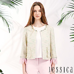 JESSICA - 條紋流蘇設計罩衫外套