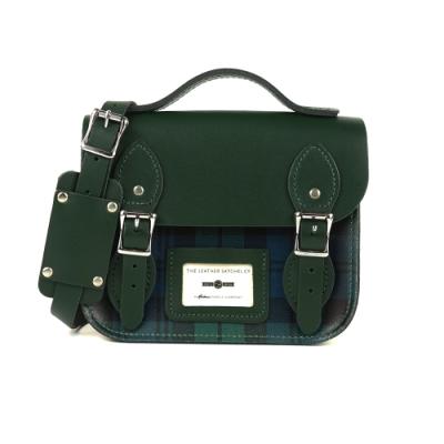 The Leather Satchel 英國手工牛皮限量款劍橋包 手提包 肩背 側背包 Green Pattern 8.5吋