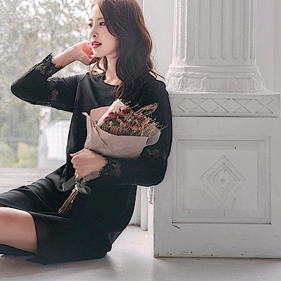 純色圓領設計剪裁拼接蕾絲七分袖洋裝-OB大尺碼