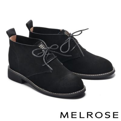 短靴 MELROSE 率性經典綁帶造型牛皮低跟短靴-黑