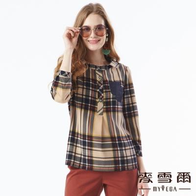 【麥雪爾】格紋印花雙口袋裝飾上衣