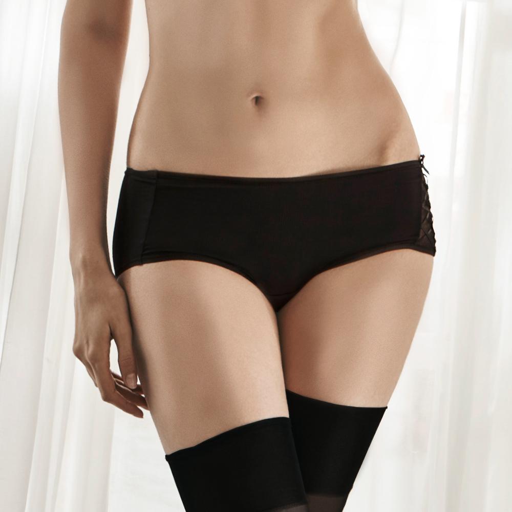 LADY 秘密情人系列 低腰平口內褲(搖滾黑)