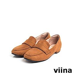 viina Basic 羊絨布素面樂福鞋 - 棕