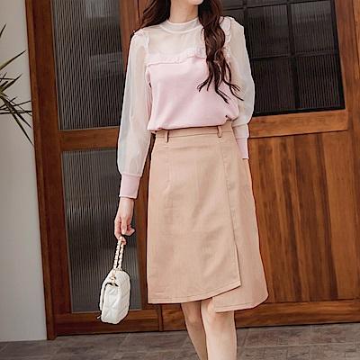 純色簡約不對稱剪裁口袋A字裙-OB大尺碼