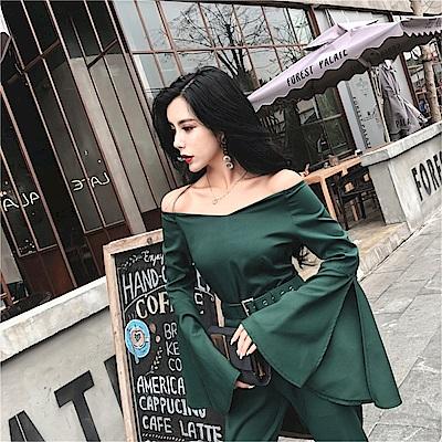 DABI 韓系時尚高腰褲大喇叭袖襯衫氣質套裝長袖褲裝