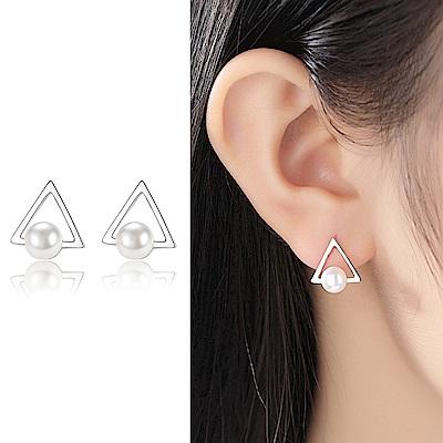 梨花HaNA 韓國S925銀針倒三角鑲珍珠簡約耳環